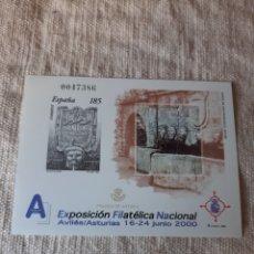 Sellos: 2000 ESPAÑA AVILES ASTURIAS EXPOSICIÓN FILATÉLICA ESCUDO AVILÉS ASTURIAS EDIFIL NÚMERO 72 PVP 12 EUR. Lote 205167290