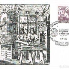 Sellos: AUSTRIA, 5º CENTENARIO DE LA IMPRENTA, MATASELLO DE 9-4-1983. Lote 206378291