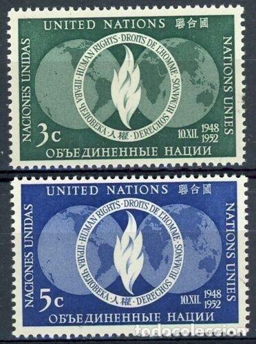 NACIONES UNIDAS NUEVA YORK 1952 IVERT 13/4 *** 4º ANIVERSARIO DECLARACIÓN DE LOS DERECHOS HUMANOS (Sellos - Temáticas - Historia)