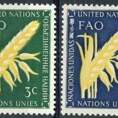 Sellos: NACIONES UNIDAS NUEVA YORK 1954 IVERT 23/4 *** ORGANIZACIÓN PARA LA ALIMENTACIÓN Y LA AGRICULTURA. Lote 211676274
