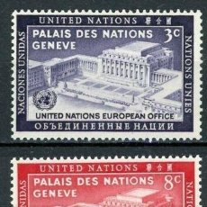 Sellos: NACIONES UNIDAS NEW YORK 1954 IVERT 25/6 *** JORNADA DE NACIONES UNIDAS - PALACIO DE LAS NACIONES. Lote 211676571