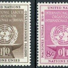 Sellos: NACIONES UNIDAS NUEVA YORK 1954 IVERT 27/8 *** ORGANIZACIÓN INTERNACIONAL DEL TRABAJO - O.I.T.. Lote 211676790