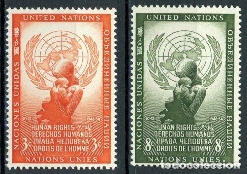 NACIONES UNIDAS NUEVA YORK 1954 IVERT 29/30 *** DÍA DE LOS DERECHOS HUMANOS (Sellos - Temáticas - Historia)
