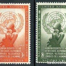 Sellos: NACIONES UNIDAS NUEVA YORK 1954 IVERT 29/30 *** DÍA DE LOS DERECHOS HUMANOS. Lote 211676905