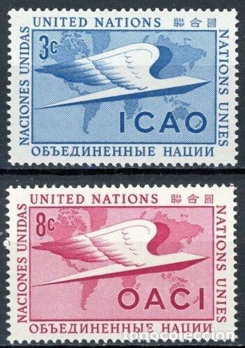 NACIONES UNIDAS NUEVA YORK 1955 IVERT 31/32 *** ORGANIZACIÓN DE LA AVIACIÓN CIVIL INTERNACIONAL (Sellos - Temáticas - Historia)