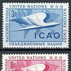 Sellos: NACIONES UNIDAS NUEVA YORK 1955 IVERT 31/32 *** ORGANIZACIÓN DE LA AVIACIÓN CIVIL INTERNACIONAL. Lote 211677218