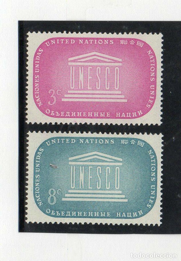 NACIONES UNIDAS NUEVA YORK 1955 IVERT 33/4 *** O.N.U. POR LA EDUCACIÓN, CIENCIA Y CULTURA - UNESCO (Sellos - Temáticas - Historia)