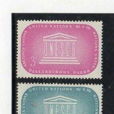 Sellos: NACIONES UNIDAS NUEVA YORK 1955 IVERT 33/4 *** O.N.U. POR LA EDUCACIÓN, CIENCIA Y CULTURA - UNESCO. Lote 211677379