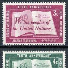 Sellos: NACIONES UNIDAS NUEVA YORK 1955 IVERT 35/7 *** 10º ANIVERSARIO DE LAS NACIONES UNIDAS - CARTA DE N.U. Lote 211677526