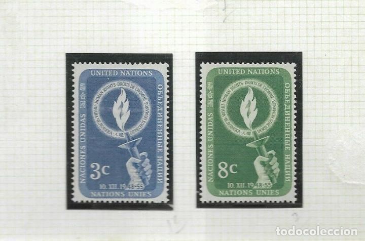 NACIONES UNIDAS NUEVA YORK 1955 IVERT 38/9 *** DÍA DE LOS DERECHOS HUMANOS (Sellos - Temáticas - Historia)