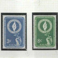 Sellos: NACIONES UNIDAS NUEVA YORK 1955 IVERT 38/9 *** DÍA DE LOS DERECHOS HUMANOS. Lote 211677668