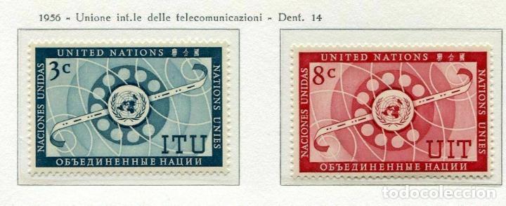 NACIONES UNIDAS NUEVA YORK 1956 IVERT 40/1 *** UNIÓN INTERNACIONAL DE TELECOMUNICACIONES - U.I.T. (Sellos - Temáticas - Historia)