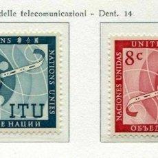 Sellos: NACIONES UNIDAS NUEVA YORK 1956 IVERT 40/1 *** UNIÓN INTERNACIONAL DE TELECOMUNICACIONES - U.I.T.. Lote 211677955