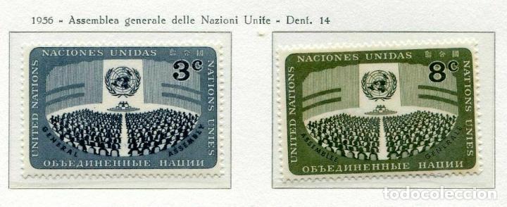 NACIONES UNIDAS NUEVA YORK 1956 IVERT 44/5 *** DÍA DE NACIONES UNIDAS - ASAMBLEA GENERAL (Sellos - Temáticas - Historia)