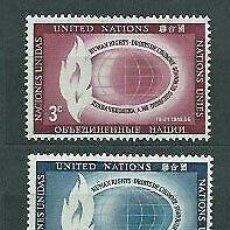 Sellos: NACIONES UNIDAS NUEVA YORK 1956 IVERT 46/7 *** DIA DE LOS DERECHOS HUMANOS. Lote 211678423