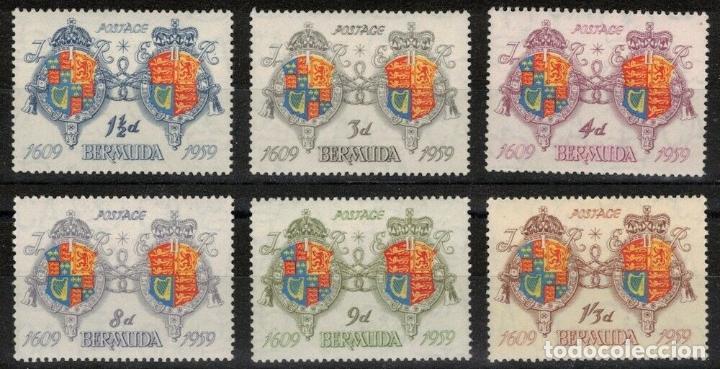 BERMUDA 1959 IVERT 157/62 ** 350º ANIVERSARIO DE LA COLONIZACIÓN DE LA ISLA - ESCUDOS (Sellos - Temáticas - Historia)