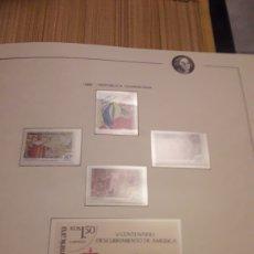 Selos: REPUBLICA DOMINICANA. QUINTO CENTENARIO 1986 - 2. EN HOJA FILABO. SIN CIRCULAR. DANI. Lote 218426338