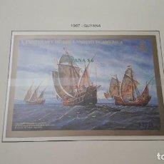 Timbres: GUYANA. QUINTO CENTENARIO DE 1987- G. EN HOJA FILABO. SIN CIRCULAR. DANI. Lote 218480337