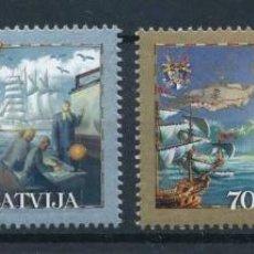 Sellos: LETONIA 2001 IVERT 523/4 *** HISTORIA DE LA NAVEGACIÓN - PERSONAJES Y BARCOS. Lote 221798387