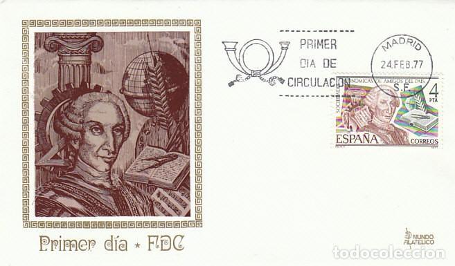 EDIFIL 2402, CARLOS III, SOCIEDADES ECONOMICAS DE AMIGOS DEL PAIS, PRIMER DIA 24-2-1977 MUNDO FILATE (Sellos - Temáticas - Historia)
