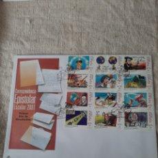 Sellos: HISTORIA DE ESPAÑA EOISTOLAR PRIMER DÍA CIRCULACIÓN MATASELLO LOPE VEGA /TORDESILLAS FRANCISCO 2001. Lote 222668375