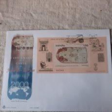 Sellos: HOJA BLOQUE USADA MATASELLO OFICIAL ESPAÑA 2000 EDIFIL 3722 CADIZ MUSEO CARTA JUAN DE LA COSA. Lote 222727171