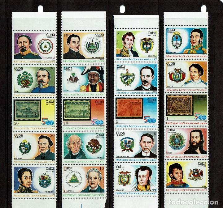 CUBA PERSONAJES DE LA HISTORIA LATINOAMERICANA 1988 (Sellos - Temáticas - Historia)