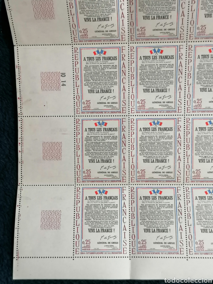 Sellos: Francia sellos Historia Carta General Gaulle yvert 1408 pliego 6.5 - Foto 2 - 232554845