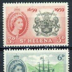 Sellos: SANTA HELENA 1959 IVERT 138/40 ** 3º CENTENARIO DE LA COLONIA - ISABEL II. Lote 232946580