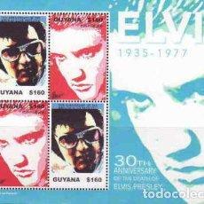 Sellos: GUYANA 2007 HB IVERT 5912/3 *** MÚSICA - CANTANTE DE ROCK ELVIS PRESLEY - PERONAJES. Lote 234667615