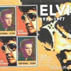 Sellos: GUYANA 2007 HB IVERT 5944/5 *** MÚSICA - CANTANTE DE ROCK ELVIS PRESLEY - PERONAJES. Lote 234667750