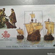 Sellos: HOJA BLOQUE SELLO ESPAÑA XXIII FERIA NACIONAL DEL SELLO QUINTO CENTENARIO CRISTÓBAL COLÓN. Lote 235941420