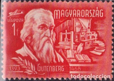 1948 - HUNGRIA - CORREO AEREO - GRANDES INVENTORES Y EXPLORADORES - GUTENBERG - YVERT 70 (Sellos - Temáticas - Historia)