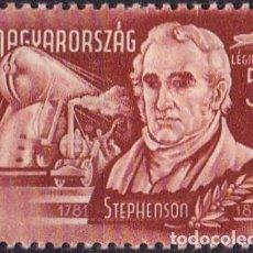 Sellos: 1948 - HUNGRIA - CORREO AEREO - GRANDES INVENTORES Y EXPLORADORES - STEPHENSON - YVERT 73. Lote 236335100