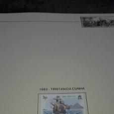 Sellos: TRISTAN DA CUNHA. DESCUBRIMIENTO DE AMÉRICA 1983 - A. EN HOJA FILABO. SIN CIRCULAR.. Lote 236875355