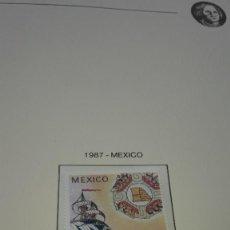 Sellos: MÉXICO. QUINTO CENTENARIO 1987-20. EN HOJA FILABO. SIN CIRCULAR.. Lote 236887710