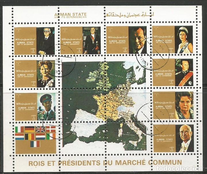 AJMAN STATE - 1973 - BLOQUE DE 16 SELLOS DE REYES Y PRESIDENTES DEL MERCADO COMÚN DE EUROPA, SELLADO (Sellos - Temáticas - Historia)