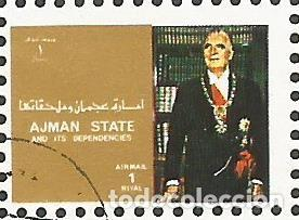 Sellos: AJMAN STATE - 1973 - BLOQUE DE 16 SELLOS DE REYES Y PRESIDENTES DEL MERCADO COMÚN DE EUROPA, SELLADO - Foto 6 - 237661465