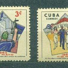 Sellos: CUBA 1963 THE LABOUR DAY MNH - MONUMENTS, FLAGS, REVOLUTION, WEAPON, HOLIDAYS. Lote 241338130