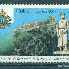 Sellos: CUBA 2001 THE 1700TH ANNIVERSARY OF THE FOUNDING OF SAN MARINO MNH - ARCHITECTURE, COATS OF ARMS. Lote 241347140
