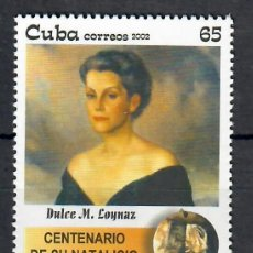 Sellos: 🚩 CUBA 2002 THE 100TH ANNIVERSARY OF THE BIRTH OF DULCE M. LOYNAZ, 1903-1997 MNH - WOMEN,. Lote 241347315