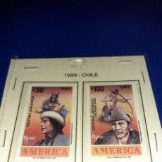 Sellos: LOTE DE 2 SELLOS CHILE 1989. ANIVERSARIO DEL DESCUBRIMIENTO DE AMÉRICA. SIN CIRCULAR.. Lote 242869250