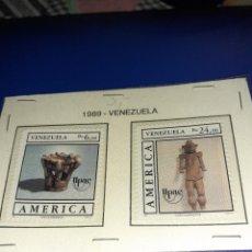 Sellos: LOTE DE 2 SELLOS VENEZUELA 1989. ANIVERSARIO DESCUBRIMIENTO DE AMÉRICA. SIN CIRCULAR.. Lote 242941355