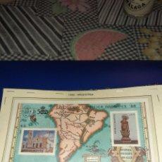 Sellos: PLANCHA DE 2 SELLOS ARGENTINA 1988. QUINTO CENTENARIO DEL DESCUBRIMIENTO DE AMÉRICA. SIN CIRCULAR. Lote 242945535