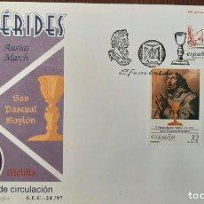 Sellos: MATASELLOS PRIMER DÍA. ESPAÑA 1997. EFEMÉRIDES: AUSÍAS MARCH. SAN PASCUAL BAYLÓN. MELILLA. Lote 252114375