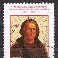 Sellos: VATICANO IVERT Nº 919, 5º CENTENARIO DEL DESCUBRIMIENTO DE AMERICA, CRISTOBAL COLÓN, USADO. Lote 254043840