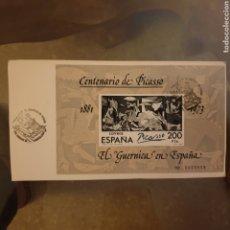 Sellos: SELLO CENTENARIO PICASSO CON MATASELLOS EN UNA ESQUINA EL GUERN8CA EN ESPAÑA. Lote 255649230