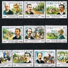 Sellos: CUBA Nº 4183/92, CENTENARIO DE LA GUERRA DE LA INDEPENDENCIA (LAGUERRA DE CUBA)USADO, SERIE COMPLETA. Lote 257711725