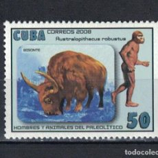 Sellos: ⚡ DISCOUNT CUBA 2008 BISON & AUSTRALOPITHECUS ROBUSTUS MNH - ANCIENT PEOPLE. Lote 261277500