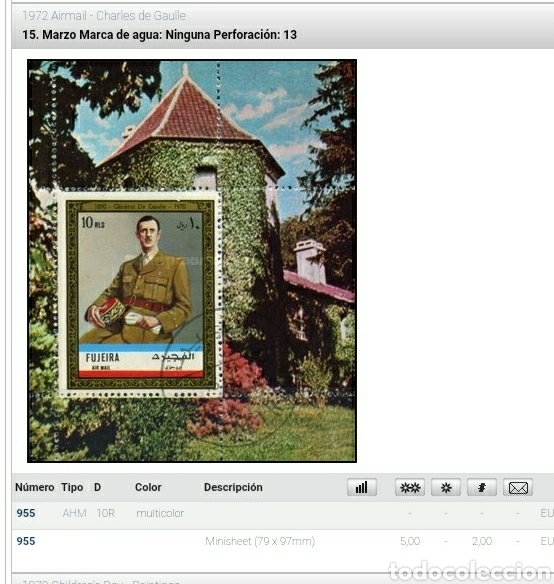 Sellos: HB Fujeira (E.A.U) mtdo/1972/Charles/Gaulle/general/militar/guerra/II.G.M/uniforme/arquitectura/edif - Foto 2 - 262289250